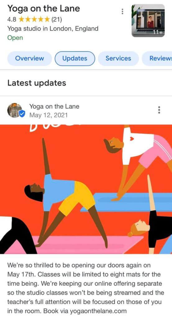 How to post on Google My Business - yoga studio