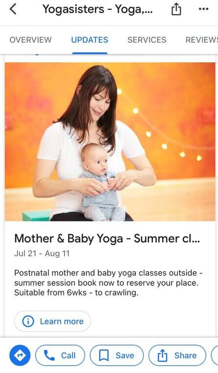 How to post on Google My Business - yogasisters