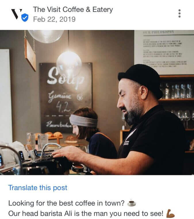 How to post on google my business - barista