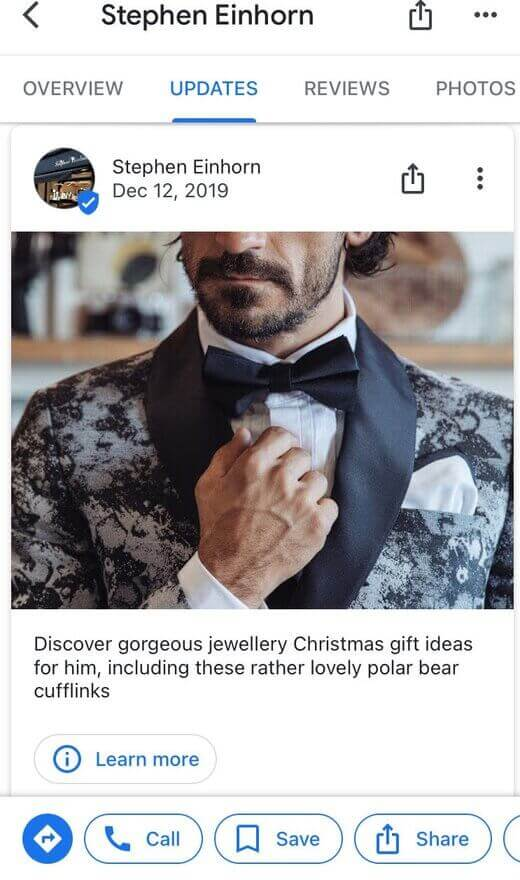 How to post to Google My Business - christmas gift ideas