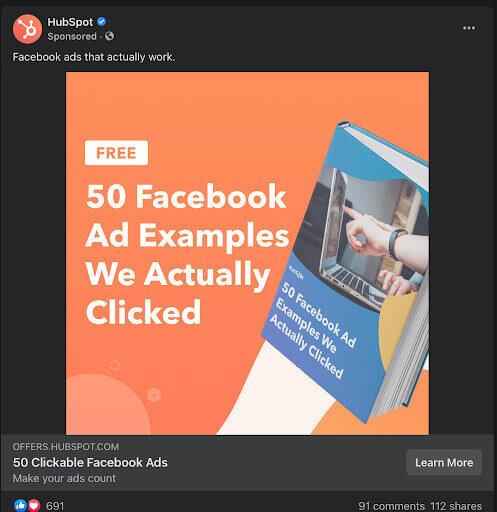 HubSpot retargeting ad on Facebook