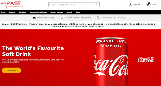 Coca-Cola webpage in their brand colors